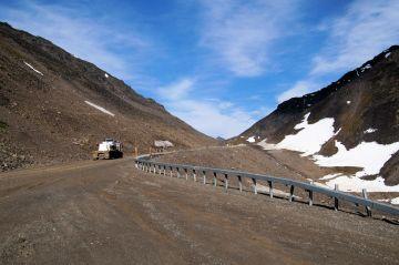 Truck going up Atigun Pass, Dalton Highway, Alaska